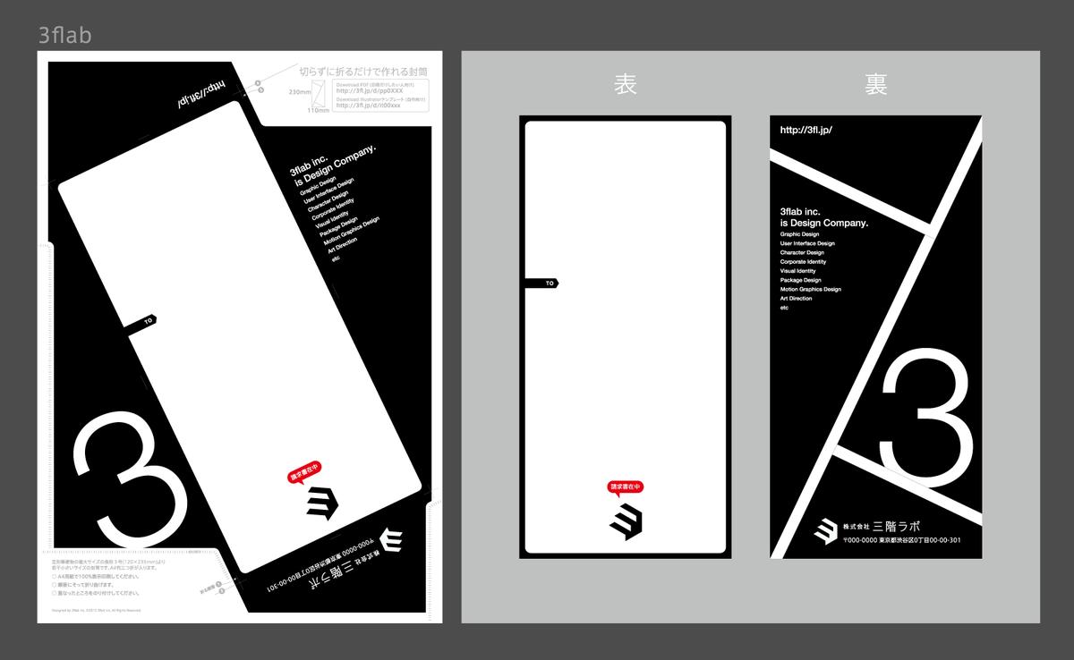去年の夏ごろにも一度作ったけど、「切らずに折るだけで作れる封筒」の作り方を見直した。定形郵便物の長形3号(120×235mm)より若干小さい110×230mm。近々イラレのテンプレートファイルも三階ラボにて配布するっす! http://t.co/Ag67emeJSv