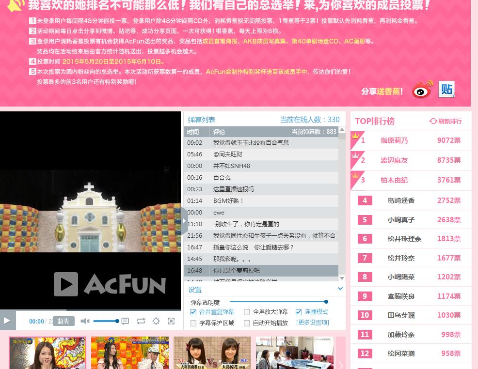 中国のファンが作った遊び用AKB総選挙、なんっとさっしーは一位、中国で結構人気あるな。ある程度は中国での人気度が映っている 。ゆいちゃんも中国で人気になれるといいな。ちょっとせつない。 http://t.co/lr2WSXK0T6