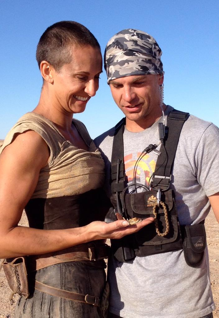 My husband @DaneGrant and I on set were we met #MadMaxFuryRoad #Furiosa http://t.co/fJsF6ZPJ6Z