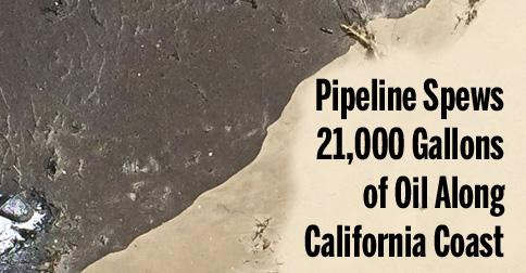 Pipeline Spews 21,000 Gallons of Oil Along California Coast http://t.co/IW3kx3TFw0 @Waterkeeper @SierraClub #OilSpill http://t.co/wggHbLAFYt