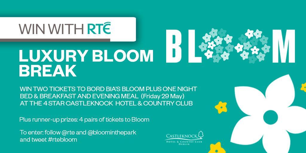 Win tix to #Bloom + stay/dinner @CHCC CastleknockHotel. Follow @rte & @bloominthepark & RT #rtebloom (+runner-up tix) http://t.co/McK7f4j2R2