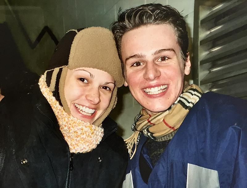 This is insanely adorable: Jonathan Groff, aged 17, at the MILLIE stage door with @sfosternyc. http://t.co/c4W0g3uiDk http://t.co/7Es7By98b9