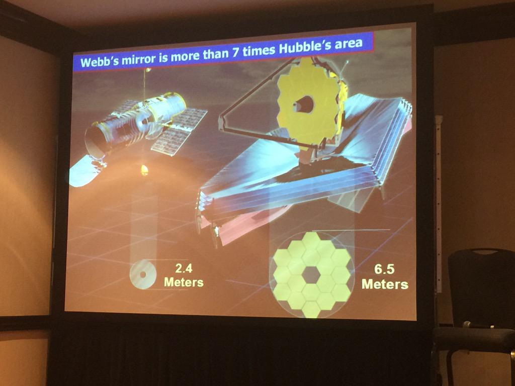 Comparing in size the Hubble Space Telescope & the James Webb Space Telescope #ISDC2015 http://t.co/7Pjr6nTpU7