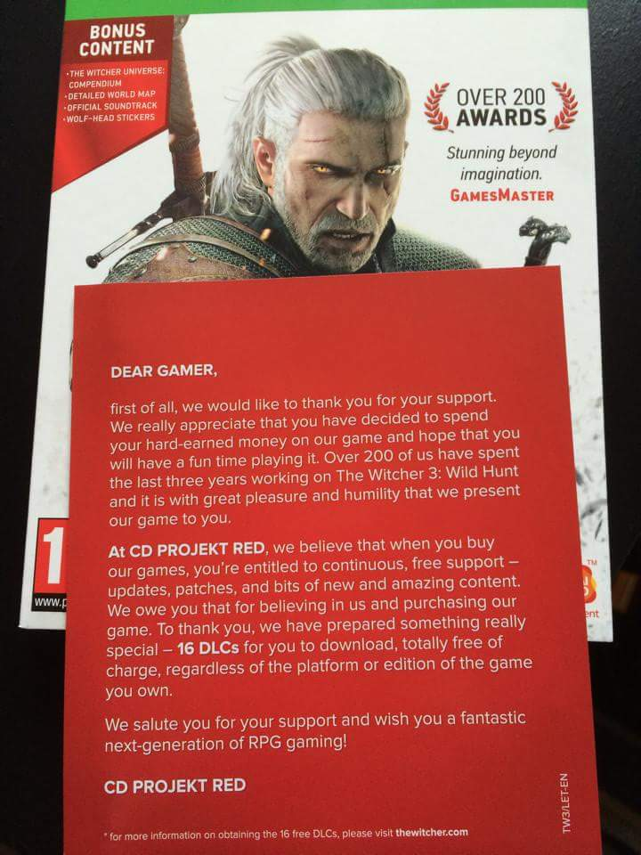 Now this is how you treat your fans. Well done @CDPROJEKTRED @witchergame http://t.co/OupKeArmz5