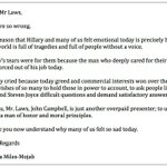 Open letter 2 Michael Laws who criticised @Hilary_Barrys tearful response to @JohnJCampbells departure from @TV3nz http://t.co/CauNKMt99n