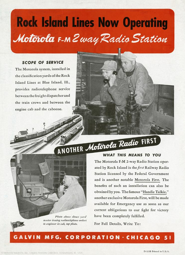 #TBT In 1945 #Motorola installed the first railway radio station licensed by the US government in Blue Island, IL. http://t.co/NqWnTFxbTJ