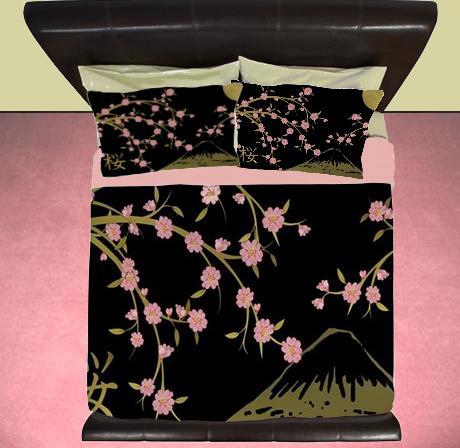 Elegant Pink #Sakura Gold on Black #Bedroom #HomeDecor http://t.co/Lua0ZWHTUi http://t.co/BC1OUFNkdi #CherryBlossoms #Duvet #Rug #Curtains