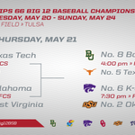It's time for day 2 of the @Phillips66Gas #Big12BSB Championship in @VisitTulsa! Here's today's schedule. http://t.co/SlnKPp5PAI