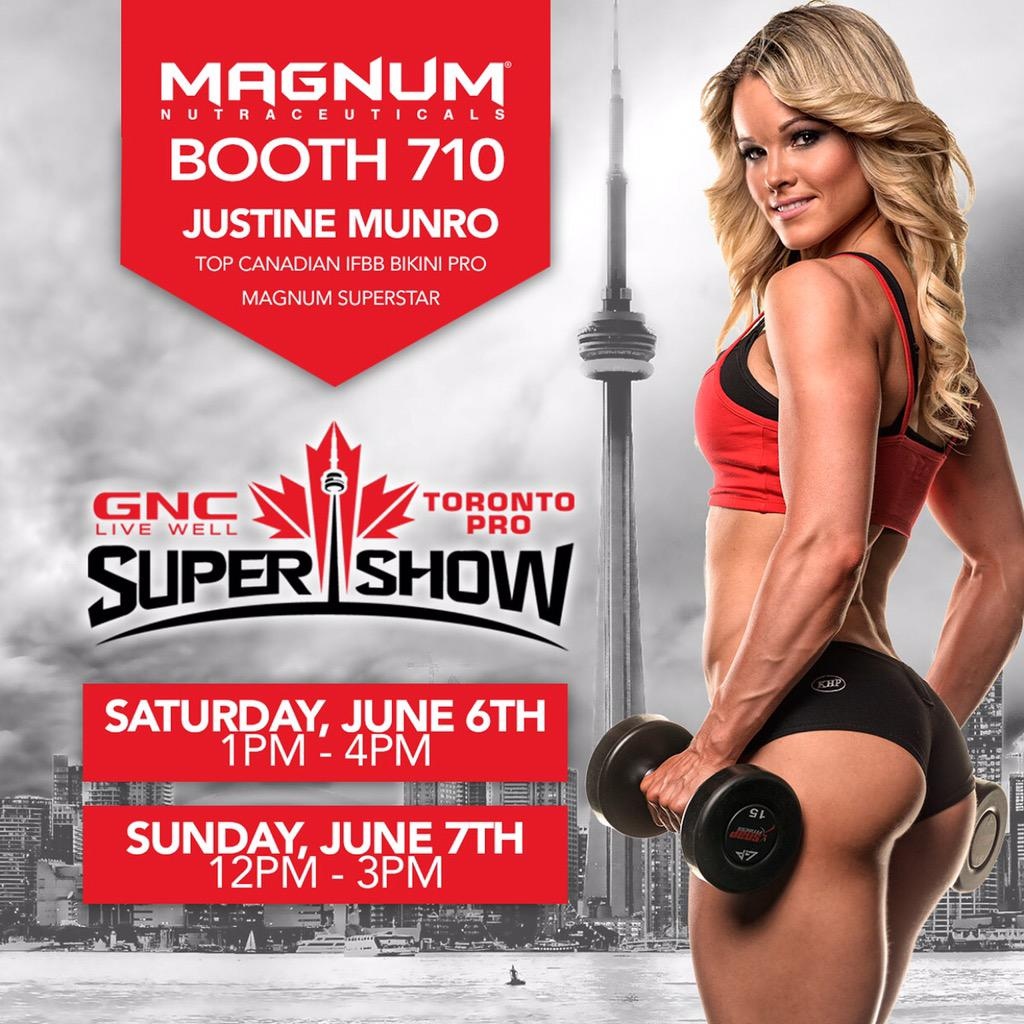 Attending the Toronto Pro Show? Be sure to visit @JustineMunro at the @HardMagnum booth - 710!! #toproshow #ifbb http://t.co/kO5KPLeSM5