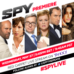 RT @SpytheMovie: The secret is out. The #SpyMovie cast will walk the red carpet on May 27. Follow @Yahoo for live coverage + new clip! http…