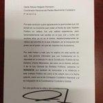 Hoy envié de manera oficial mi renuncia al Coordinador Nacional de Movimiento Ciudadano http://t.co/Lyr8uqIDM7