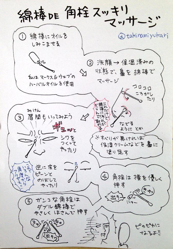 綿棒で鼻の汚れと角栓が取れまくるので書いてみた。 http://t.co/CVBwT8e16O