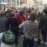 Group at 4th and Columbia protesting 2 men shot in #Olympia by police. @KIRO7Seattle http://t.co/bJrvvKMz1q