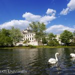 Right now: Lancelot & Elaine enjoy a gorgeous afternoon on Lake LaVerne. Image by @CEGannon. #IowaState #campus #iawx http://t.co/rfpD0F5AZF