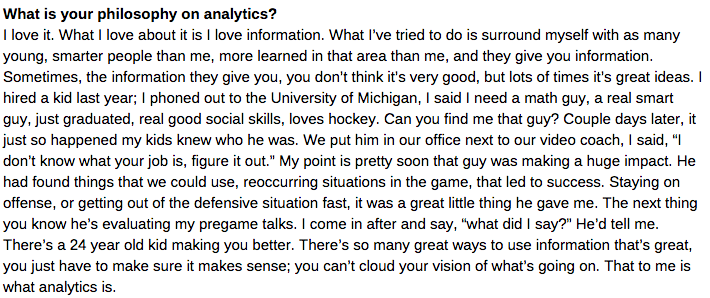 Favourite Babcock interview of the day: On analytics, attracting players, much more http://t.co/GuZEhk4QmE http://t.co/pUYyUFu4Y0