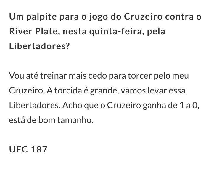 Ai acertei heim hahaha #Cruzeiro http://t.co/Tk3pMM2u14