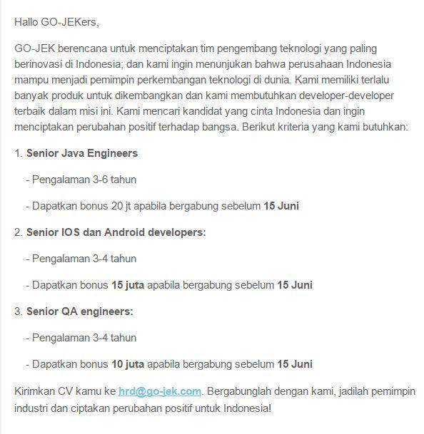 .@gojekindonesia membuka berbagai lowongan! http://t.co/Hqn39W1fAI