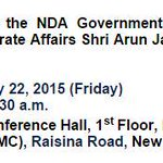 Shri @arunjaitley to hold a press conference at 11.30 am today at National Media Centre, New Delhi http://t.co/yKnfq8FH9q