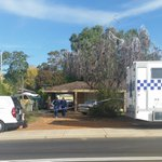 Forensic officers leaving the house in Eaton. Major crime on scene investigating suspected homicide #bunbury #news http://t.co/f21hl6ckGT
