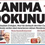 @milliyet gazetesi manşette Cumhurbaşkanı Erdoğanın Mursi ile ilgili düşüncelerine yer verdi: Kanıma dokunuyor. http://t.co/HZJJcLPlUO