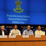 Shri @arunjaitley and Shri @Ra_THORe at the Press Conference on completion of One Year of Union Government http://t.co/VSpQlShjt3