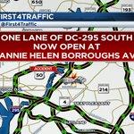 One SB lane of DC-295 SB now open at Nannie Helen Borroughs Ave. @news4today @nbcwashington http://t.co/Ho6jDTJXKy