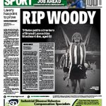 Sad back page of todays @SheffieldStar as Blades lose a legend http://t.co/oR6tNTbWNy #sufc #twitterblades #ripwoody http://t.co/0c9wTTkqV6