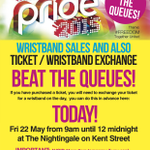 Have you exchanged your @BirminghamPride ticket for a wristband? Do it early NOW at @Nightingaleclub before MIDNIGHT! http://t.co/Hh7JTaQ1mm