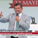 Başbakan Ahmet Davutoğlu Ordu-Giresun Havalimanı açılışında konuşuyor. CANLI: http://t.co/CATxOUwZ7u http://t.co/WuBE74oT4a