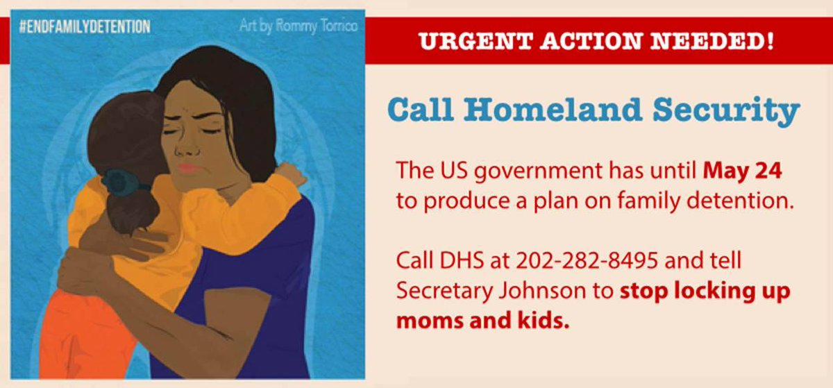Your phone call can help release moms & kids from detention! Call 202-282-8495 to #EndFamilyDetention! via @hrw http://t.co/5D9QMgrJDm