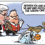 "#TruthInHumour yet again. The image is perfection! ""Sit, Skippy sit....heel...good boy...good boy!"" #cdnpoli http://t.co/eU0Aq2S0OU"