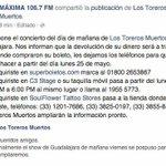 Buenos días, les recordamos que el evento programado para hoy con @torerosmuertos_ en #Guadalajara ha sido pospuesto. http://t.co/AOzgpggaux