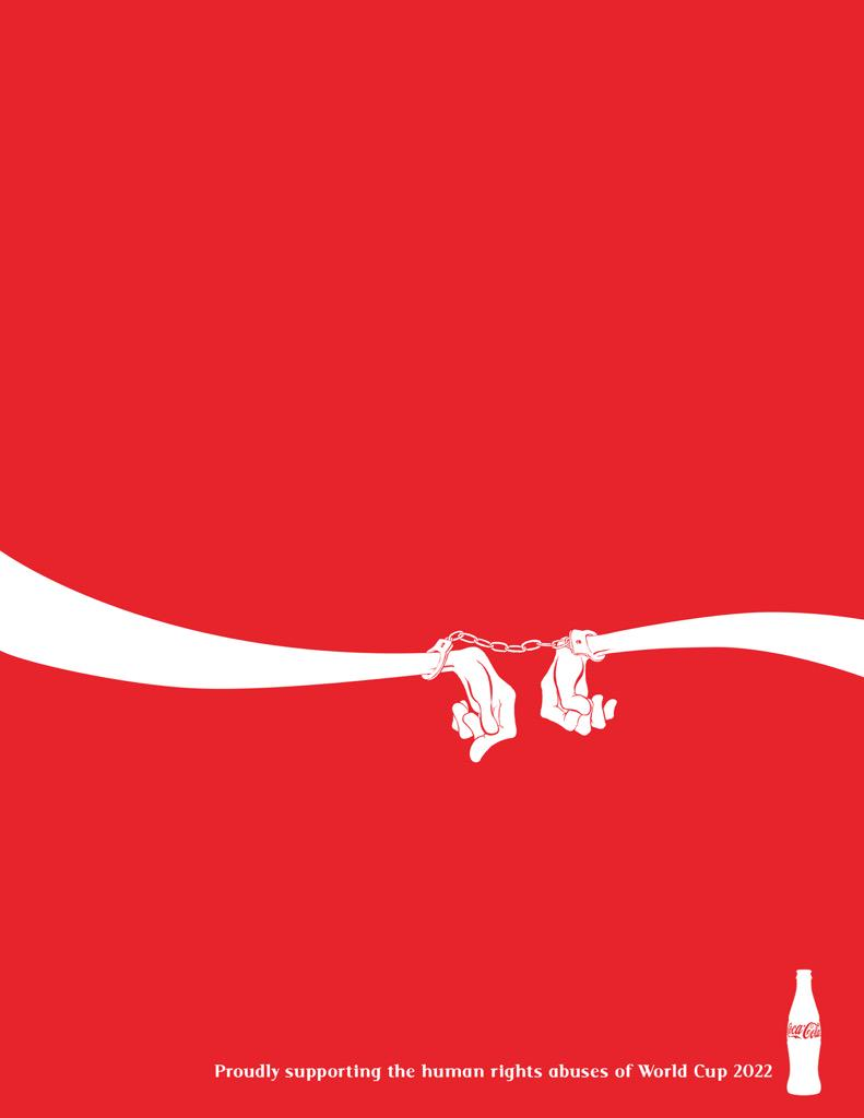 """Someone has taken Coke """"Share Happiness"""" logo & made an ad to remind them of the happiness they're sharing in Qatar. http://t.co/LTi0PaxEr3"""