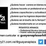 ¿Quieres hacer carrera en bienes raíces? Envía tu resumen curricular: guayanaplazarh@gmail.com #Guayana #PZO http://t.co/6Zns8jOC8d