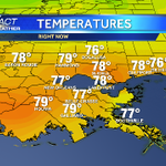 Upper 70s now. About 10 degrees cooler than yesterday at this time. #nola #mscoastwx @wdsu http://t.co/E5hiwL8RqX