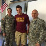 My son @JackPowers22 with 2 National Guard Soldiers at Ithaca High School Soldier Day. #thankyouforyourservice http://t.co/a9FaGIEURv