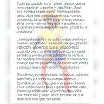 Carta de Carlos El Pibe Valderrama a la hinchada rojiblanca. Vía @elheraldoco http://t.co/8rTkR5qvRv