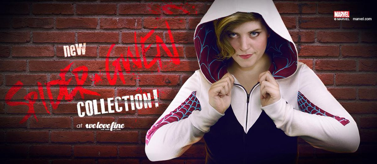 .@kateleth rocks the new #SpiderGwen Hoodie. Wait there's more! @Marvel SpiderGwen Collection: http://t.co/r2caEuczVu http://t.co/9kZndBzg2b