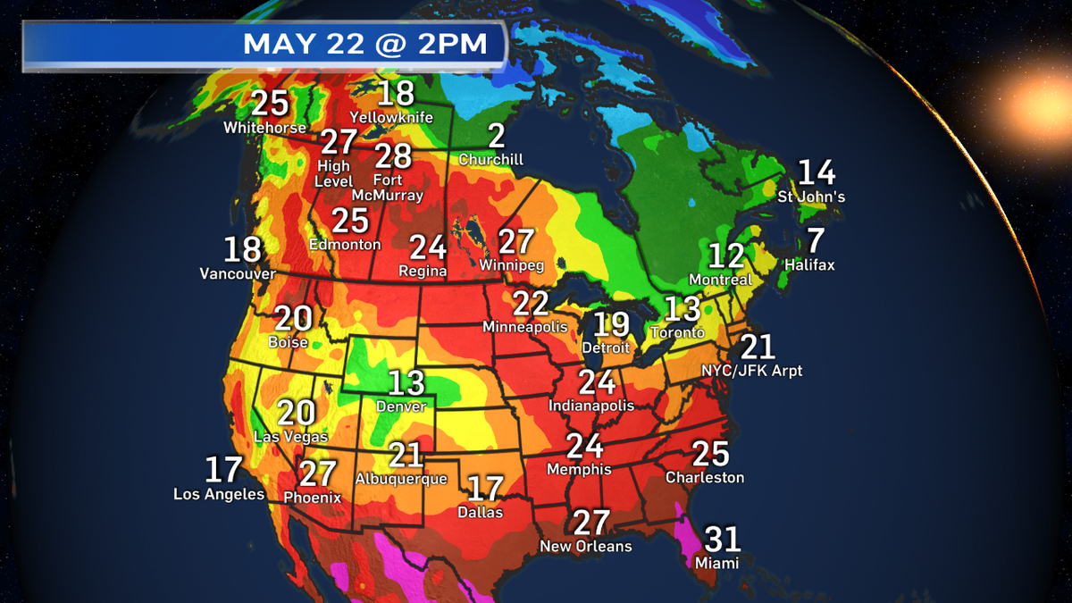 At 2pm:  Fort McMurray is hotter than Phoenix & #yegwx is 5 degrees warmer than Las Vegas. http://t.co/RU0b7eDKrP