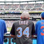 Captain American, Thor and the Dark Knight survey the scene. #Mets http://t.co/sPHnQgWdgh