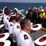 "Calgary Mayor Nenshi ""white hats"" crew of HMCS Calgary at sea. #yyc #yyj http://t.co/ZXfa5OpEbC"