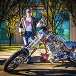 Ran into this guy & his bike at the UofC today. Had to get a shot. #capturecalgary #chopper #motorcycle #yyc http://t.co/qqg84GLn89
