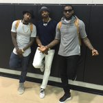 Stylin after the Game 2 victory in Atlanta. @I_Am_Iman @RealTristan13 @KingJames #NBAstyle http://t.co/L5lbkRaARz
