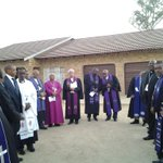 Church leaders gather outside the U.C.C.S.A church in Vryburg ahead of Mompatis funeral. #sabcnews #RIPRuthMompati http://t.co/9RjenQViM5