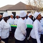 The coffin carried by woman of the church. RIP Mama Ruth Segomotsi Mompati http://t.co/NSsmjzl8Xl