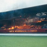 A huge fire engulfs the Main Stand at the City Ground in 1968 during a home game v Leeds.Amazingly no lives were lost http://t.co/OglVOvsUZF