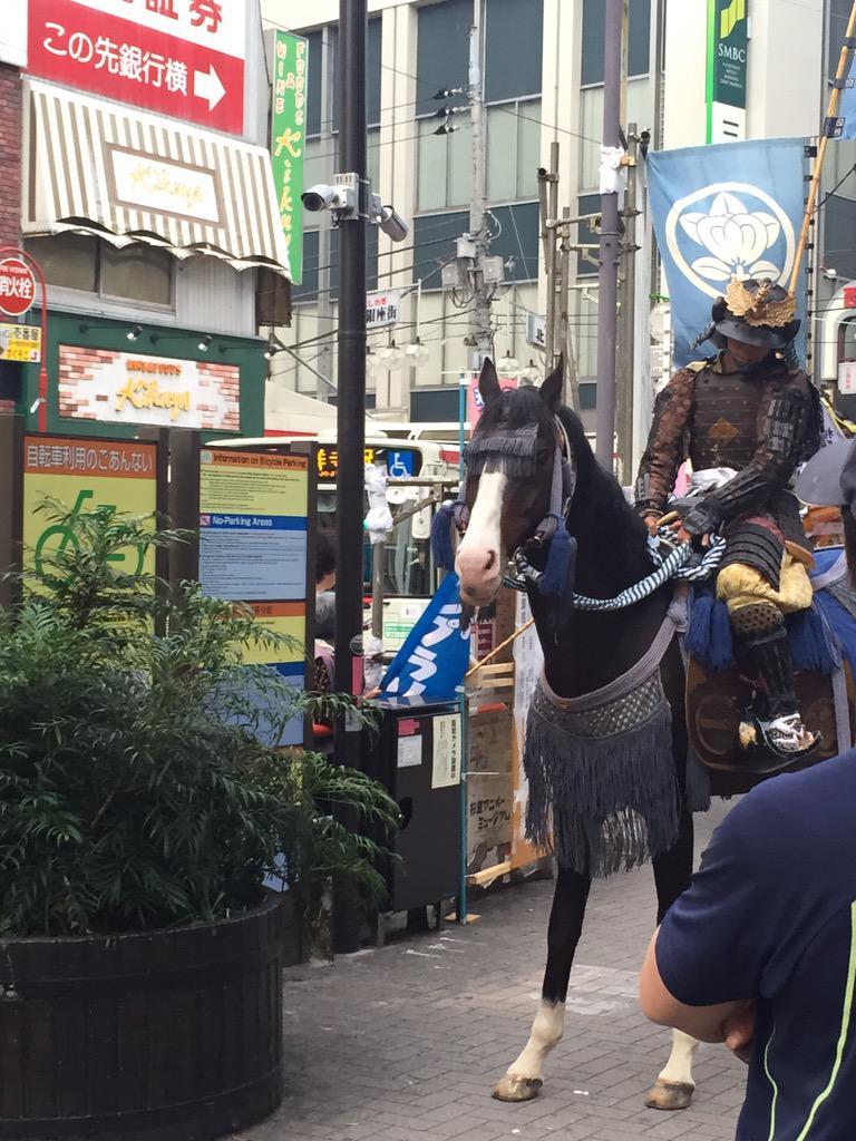 駅前に武将がおったんやけど、馬が左の植え込みを食べて武将が困ってた http://t.co/na5vU3M1d4