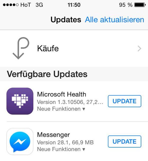iOS 8.3 Update für Microsoft Health und Messenger App in App Store verfügbar. http://t.co/XzI9FytoLb