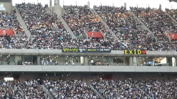 Omg this is so far away from the stage and the banner is too small. Just hope bangtan can see themㅠㅠ http://t.co/4fJxcmFkGi