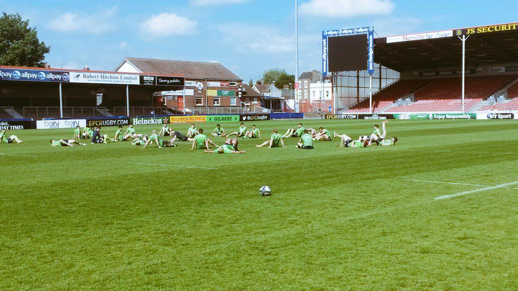 Captains Practice at a sunny Kingsholm Stadium ahead of tomorrow's #ChampionsCup play off v @gloucesterrugby http://t.co/yHVhyKGUNk
